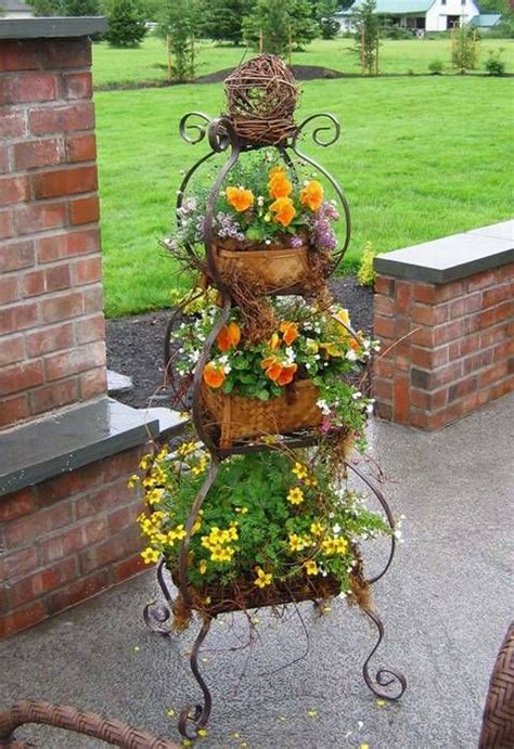 three tier hanging herb planter garden therapy metal outdoor plant stand woodworking projects plans