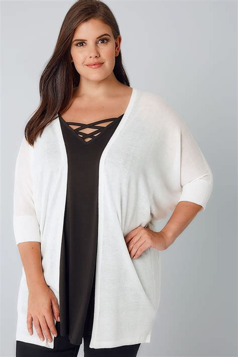 Cp Onb Cocoon Blouse ivory knit cocoon cardigan with grown on sleeves plus size 16 to 36