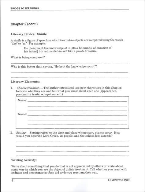 bridge to terabithia novel study guides for the teacher bridge to terabithia novel ties study guide 061521