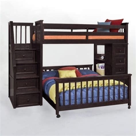 Bunk Bed Stairs Sold Separately Ne School House Stair Loft Bed With Chest End In Chocolate 5090nc