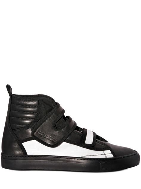 raf simons velcro straps sneakers in black for lyst