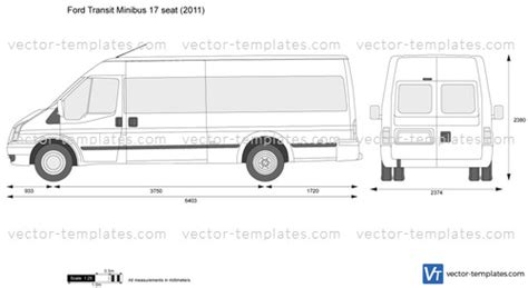 Templates Cars Ford Ford Transit Minibus 17 Seat Ford Transit Vector Template