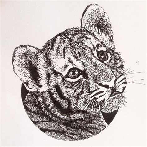baby tiger tattoo designs sweet dotwork tiger baby design tattooimages biz