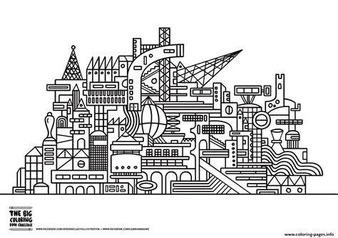 coloring book page of a city twisted city coloring pages printable