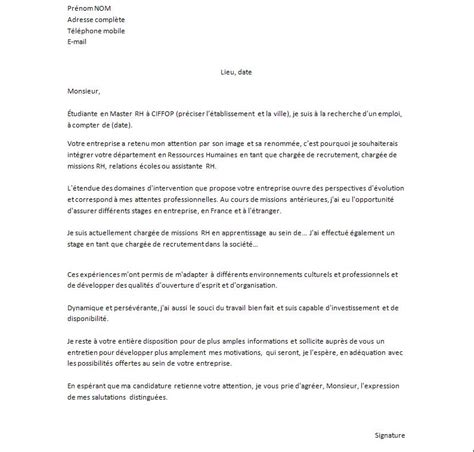 Exemple De Lettre De Motivation Pour Un Stage Assistant Manager Exemple De Lettre De Motivation Pour Un Emploi