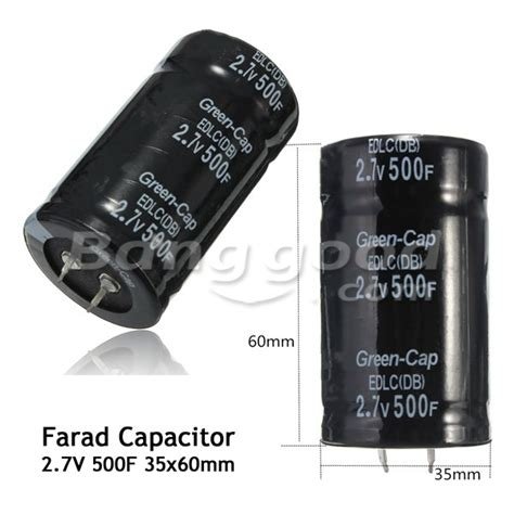 what size farad capacitor to use black 2 7v 500f 35 60mm farad capacitor ebay