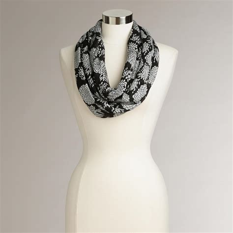 black and white floral infinity scarf world market