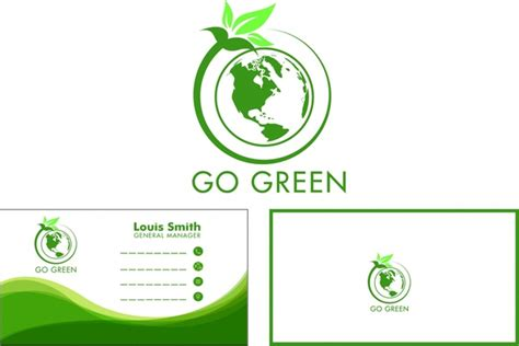 design name free download eco name card design green globe leaf style free vector in
