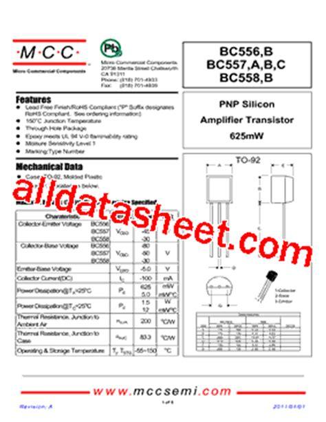 datasheet of transistor bc558 bc558 datasheet pdf micro commercial components