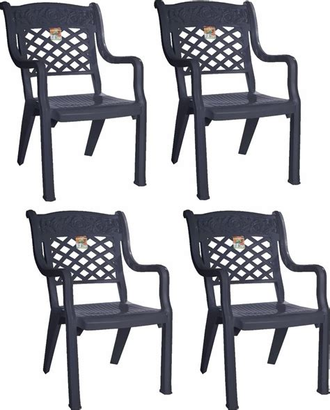 Plastic High Back Patio Chairs 4 X Large Design Garden Chair Graphite High Raised Back Patio Plastic Chair Ebay