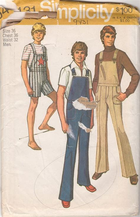 sewing pattern overalls simplicity 794311970s mens bib overalls pattern jumpsuit
