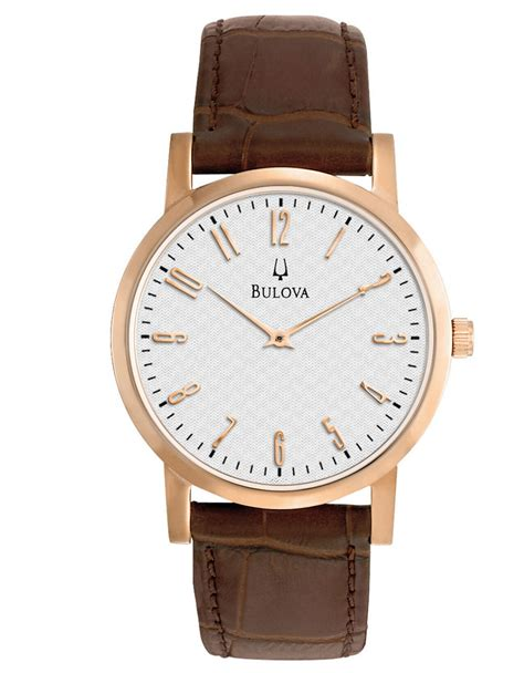 bulova mens gold and leather dress in brown for