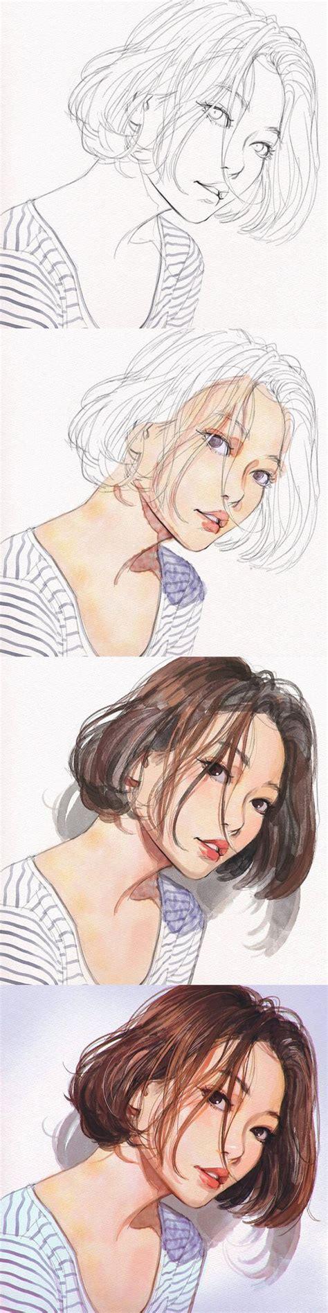 tutorial watercolor manga 334 best aquarel portret images on pinterest faces