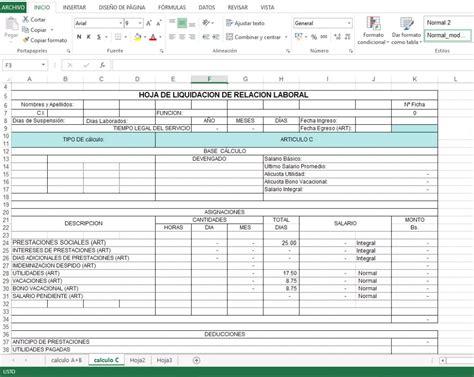 calculo de liquidacion de trabajo descargar 187 plantilla excel liquidaci 243 n laboral