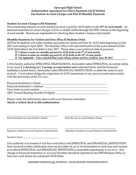 Authorization Agreement For Ach Debits Episcopal High School Houston Bellaire Ach Agreement Template