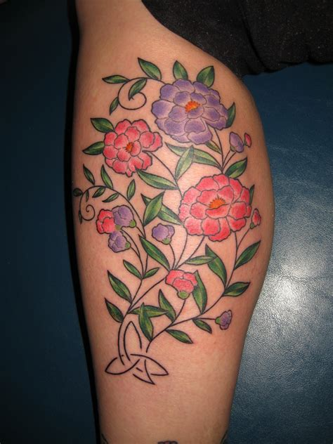 flower tattoo designs on leg flower tattoos designs and ideas for