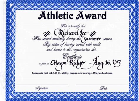 Sports Award Certificate Template sport certificate templates for word reference letter