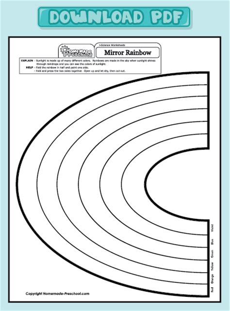 Rainbow Worksheets by And Interactive Preschool Worksheets