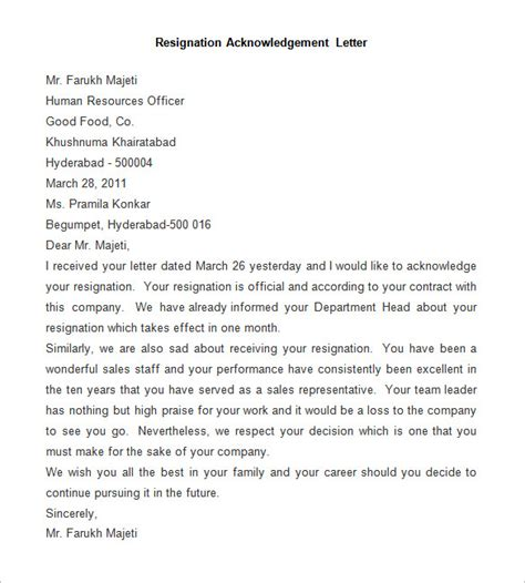 Resignation Acknowledgement Letter Template by Resignation Letter Template 25 Free Word Pdf Documents Free Premium Templates