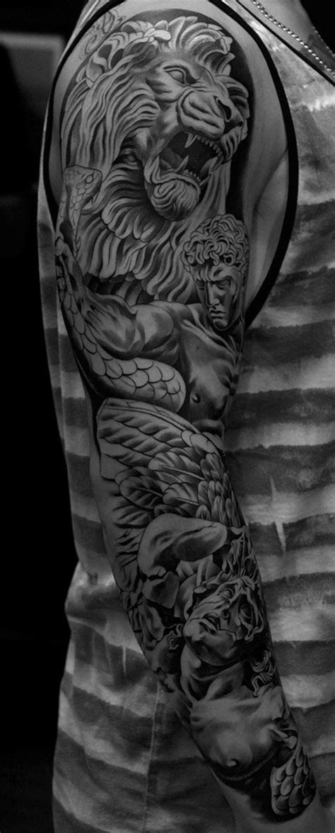 lion sleeve tattoo designs monarc studios collection jun cha tatoos