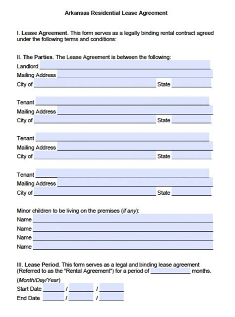 free printable lease agreement arkansas free arkansas residential lease agreement pdf word doc