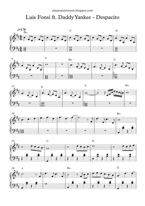 despacito on piano free piano sheet music luis fonsi ft daddy yankee