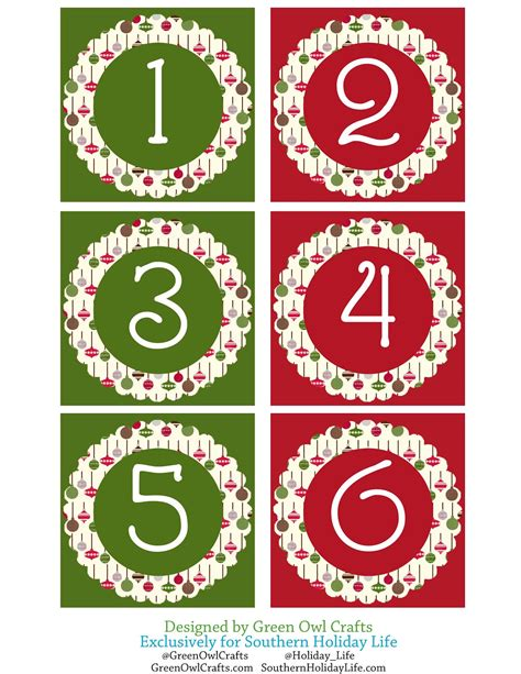 printable christmas numbers 1 25 green owl crafts countdown to the 25th christmas advent