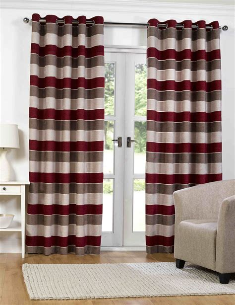 red and white horizontal striped curtains barcelona red horizontal stripe eyelet lined chenille