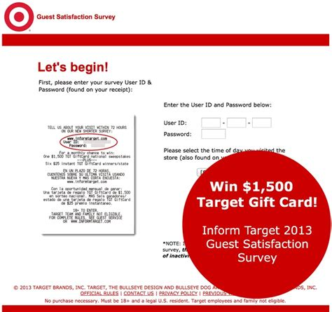 Www Target Com Survey Gift Card - complete the inform target survey for a chance to win a 1500 target gift card plus