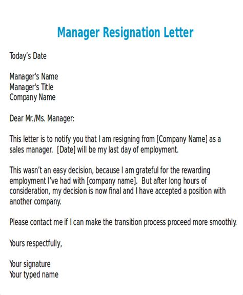 sle of resignation letter resignation letter for manager free formal