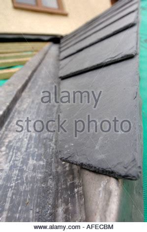 slate roof section the section of a slate roof under construction showing the