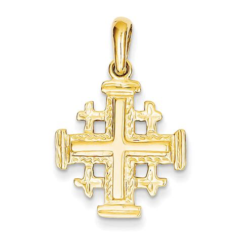 14k gold jerusalem cross pendant 30 mm 1 1 8 inch