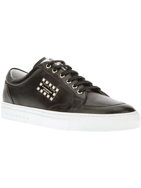 Sneaker Boots Stud lyst philipp plein studded plaque sneaker in black for