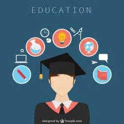 education design with icons vector free download