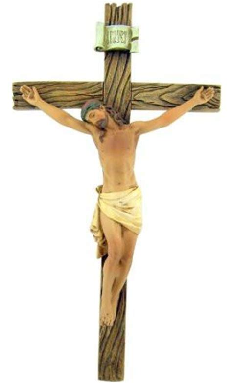 Catholic 8 Inch Stone Resin Jesus Christ on INRI Cross Wall Crucifix H ? Hour Loop