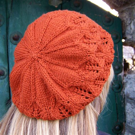 knit pattern leaf hat falling leaves beret apiary knits
