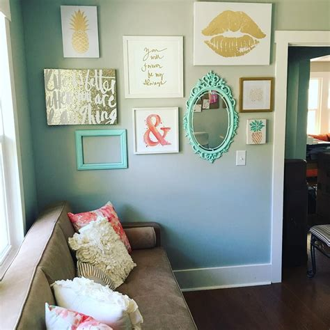 instagram gallery wall  peach teal  gold glitter