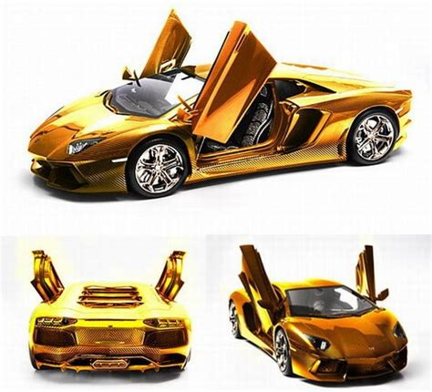 Most Expensive Lamborghini Aventador Golden Version Of Lamborghini Aventador Model Car