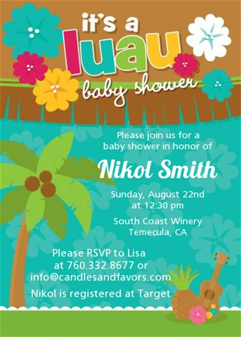 Hawaiian Theme Wedding Invitation To Email by Luau Baby Shower Invitations Candles And Favors