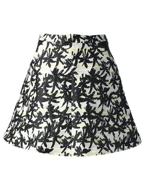 kenzo palm tree print skirt in black lyst