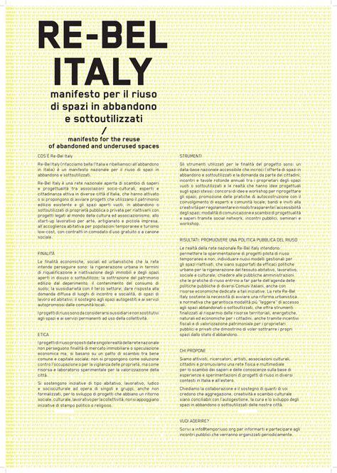 The Italian Manifesto by Re Bel Italy Manifesto Per Il Riuso Degli Spazi In