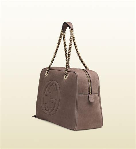 Gucci Catur Segi Bown 1 lyst gucci soho nubuck leather chain shoulder bag in gray