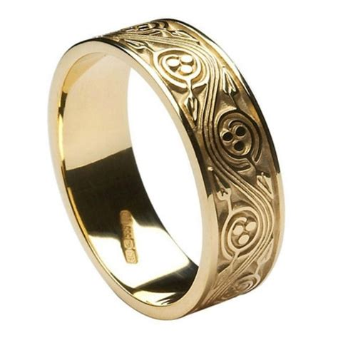 triscele weave yellow gold wedding band celtic wedding