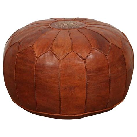 moroccan ottoman pouf large vintage moroccan leather pouf at 1stdibs