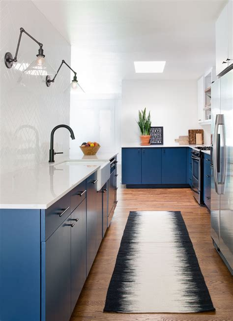 blue kitchen insel this home received an updated kitchen with blue cabinets