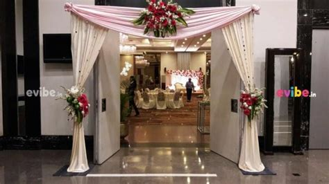 Best gerbera floral and drapes entrance decor for wedding