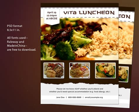 Free Flyer Psd Template Invitation To A Luncheon By Thepixelme On Deviantart Luncheon Flyer Template