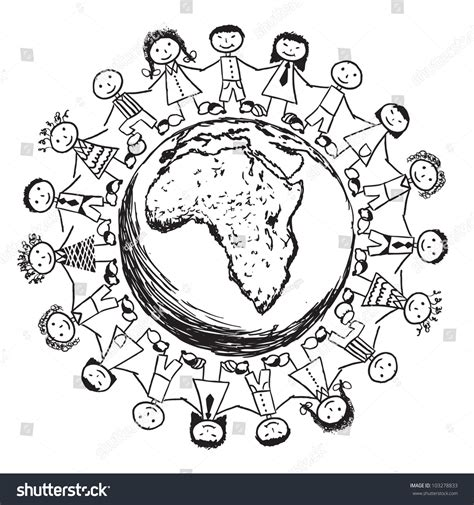 doodle world doodle children around the world africa stock vector