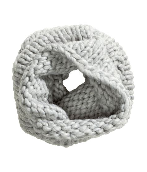 grey knit scarf h m chunky knit scarf in gray lyst