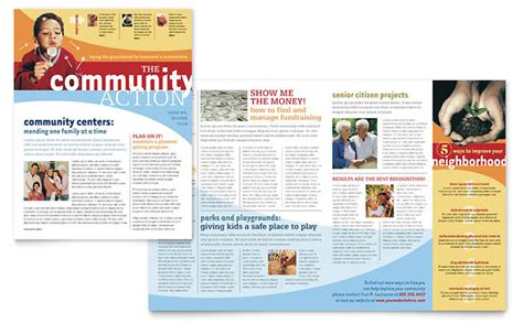 newsletter layout template community non profit newsletter template design